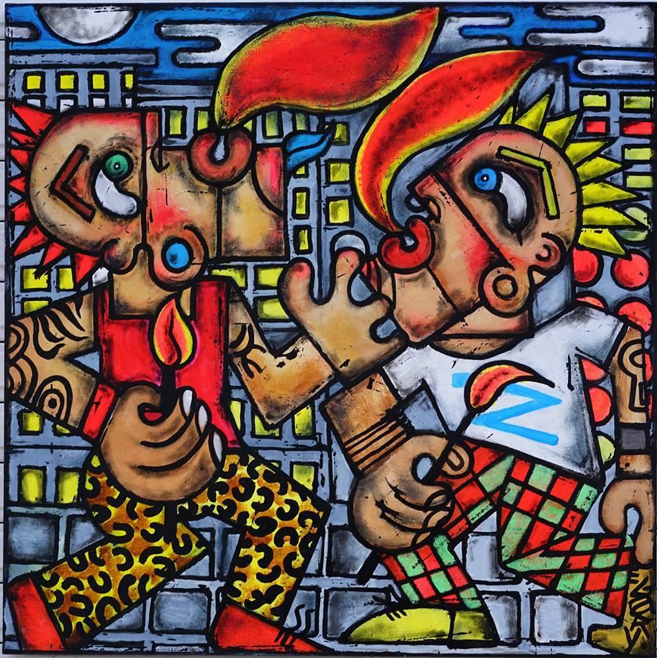 Peinture de Gary exposé à Mise en Scène par Fredo Slim